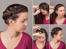 Simple braid hairstyle tutorial stock photos