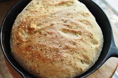 Simple Bread with Rosemary and Sea Salt Stock Image