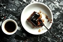 Simple breakfast with coffee and chocolate cake Stock Images