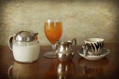 Simple breakfast: espresso, milk and juice Royalty Free Stock Image