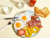 Simple breakfast. Fried egg with bacon, bell pepper and toast on a plate royalty free stock photography