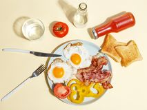 Simple breakfast. Fried egg with bacon, bell pepper and toast on a plate royalty free stock image