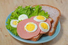 Simple breakfast with Sandwich and egg Stock Photos