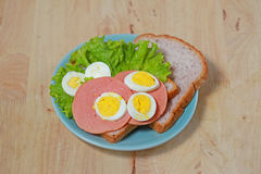 Simple breakfast with Sandwich and egg Royalty Free Stock Image
