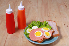 Simple breakfast with Sandwich and egg Stock Photo