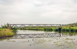Simple bridge reflected in the water surface. The bridge is located in a Dutch nature reserve. It is a cloudy day at the end of the summer season stock images