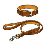 Simple brown leather pet, cat, dog buckle collar and leash. Simple pet, cat, dog buckle collar and leash made of thick brown leather, sketch vector illustration Stock Photography