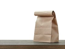 Simple brown paper bag for lunch or food Royalty Free Stock Photo