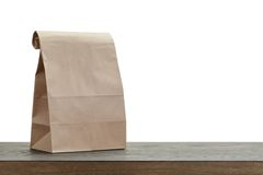 Simple brown paper bag for lunch or food Royalty Free Stock Images