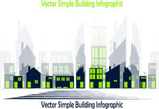 Simple buildings. Simple infographic with shapes of buildings with doors and windows Royalty Free Stock Photos