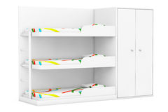 Simple Bunk Bed. 3d Rendering. Simple Bunk Bed on a white background. 3d Rendering Stock Photos