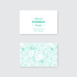 Simple business card template with decorative orna Stock Photo