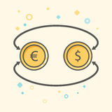 Simple Business and  Finance Vector Flat Icon. Currency exchange between dollar and euro. Flat style style icon.  Royalty Free Stock Photography