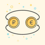 Simple Business and  Finance Vector Flat Icon. Currency exchange between euro and rubles. Flat style icon.  Royalty Free Stock Photos