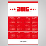 2016 simple business red wall calendar with white Royalty Free Stock Images