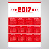 2017 simple business red wall calendar with white eps10. 2017 simple business red wall calendar with white Stock Photos