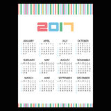2017 simple business wall calendar color bar code eps10. 2017 simple business wall calendar color bar code Royalty Free Stock Image