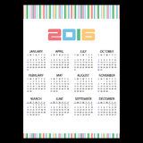 2016 simple business wall calendar color stripes eps10 Royalty Free Stock Photos