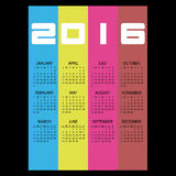 2016 simple business wall calendar with color vertical stripes eps10 Royalty Free Stock Photos