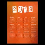 2018 simple business wall calendar with low polygon red theme pattern eps10. 2018 simple business wall calendar with low polygon red theme pattern Royalty Free Stock Images