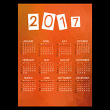 2017 simple business wall calendar with low polygon red theme pattern eps10. 2017 simple business wall calendar with low polygon red theme pattern royalty free illustration