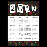 2017 simple business wall calendar with outline color floral pattern eps10 Stock Image