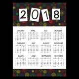 2018 simple business wall calendar with outline color floral pattern eps10. 2018 simple business wall calendar with outline color floral pattern Stock Photography