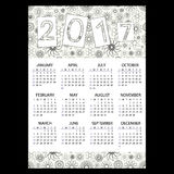 2017 simple business wall calendar with outline floral pattern eps10 Stock Photos