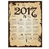 2017 simple business wall calendar with torn old paper background eps10. 2017 simple business wall calendar with torn old paper background stock illustration