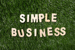 Simple Business Wooden Sign On Grass. Simple business wooden sign on green grass background Royalty Free Stock Photography