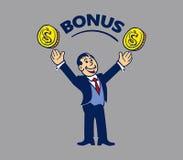 Simple businessman get bonus Stock Images