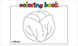 Simple cabbage coloring book for children and kids Stock Photos