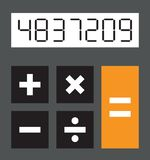 Simple calculator. A simple black and white calculator Stock Image