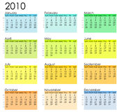 Simple calendar 2010. Simple calendar with week notations and season colors Stock Photography