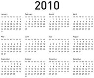 Simple Calendar for 2010. Simple Calendar for year 2010. vector format Stock Images