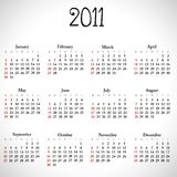 Simple calendar of 2011. Stock Photos
