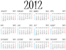 Simple calendar 2012 Stock Images
