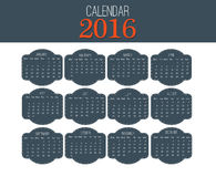 Simple Calendar 2016. Abstract calendar for 2016. 12 Months. Vector template design Royalty Free Stock Photography