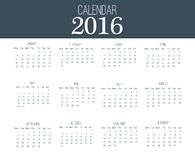 Simple Calendar 2016. Abstract calendar for 2016. 12 Months. Vector template design Stock Photos