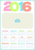 Simple calendar 2016. Abstract calendar for 2016. Vector illustration. Calendar in pastel candy colors, with a place for photo. Calendar for Kids Royalty Free Stock Image