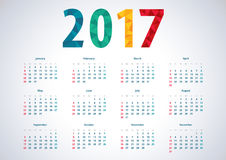 Simple calendar 2017. American 2017 vector calendar. Week starts from Sunday. Polygon number 2017 Stock Illustration