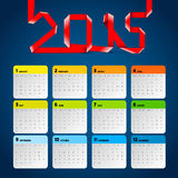 Simple 2015 Calendar, Background card design, week starts with s Royalty Free Stock Images