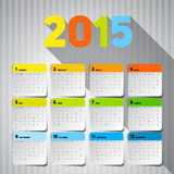 Simple 2015 Calendar, Background card design, week starts with s Stock Photo