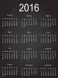 2016 simple calendar on blackboard. Week starts with Sunday. Vector illustration Royalty Free Stock Photography