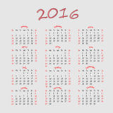 Simple calendar 2016. Simple business calendar 2016 vector Stock Photos