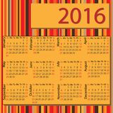 Simple 2016 Calendar / 2016 calendar design. / 2016 calendar vertical - week starts with Sunday Stock Photos