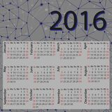 Simple 2016 Calendar / 2016 calendar design. / 2016 calendar vertical - week starts with Sunday Stock Photo