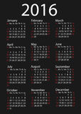 Simple 2016 Calendar / 2016 calendar design. / 2016 calendar vertical - week starts with Sunday Stock Images