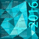 Simple 2016 Calendar / 2016 calendar design. / 2016 calendar vertical - week starts with Sunday Stock Photography