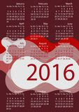 Simple 2016 Calendar / 2016 calendar design. / 2016 calendar vertical - week starts with Sunday Royalty Free Stock Photos